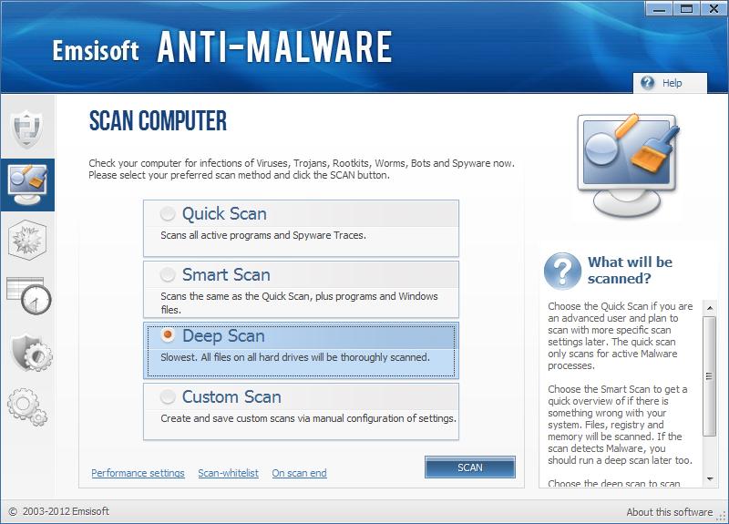 instantanea di Emsisoft Anti Malware