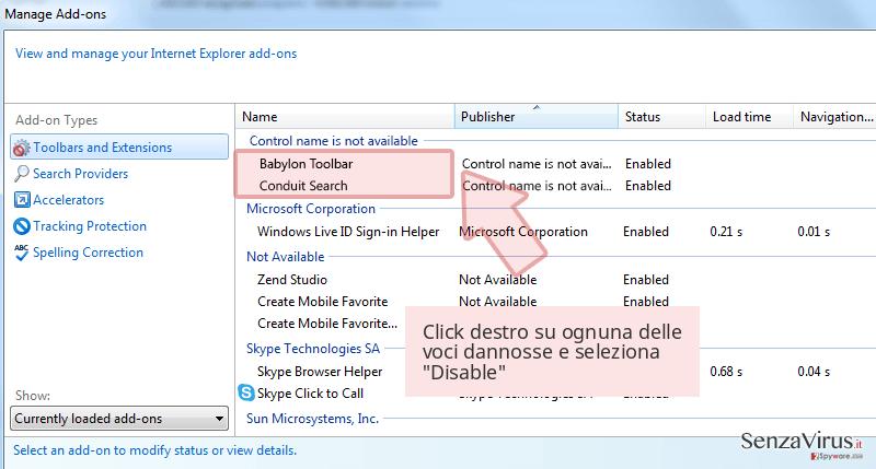 Click destro su ognuna delle voci dannosse e seleziona 'Disable'
