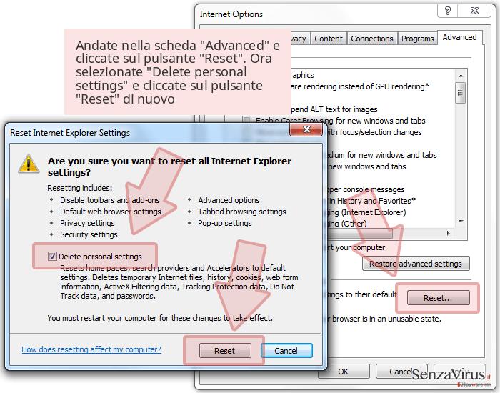 Andate nella scheda 'Advanced' e cliccate sul pulsante 'Reset'. Ora selezionate 'Delete personal settings' e cliccate sul pulsante 'Reset' di nuovo