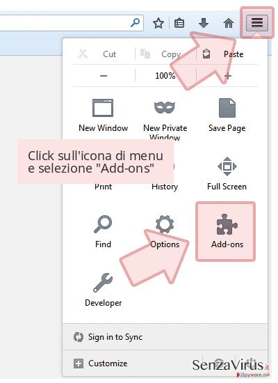 Click sull'icona di menu e selezione 'Add-ons'