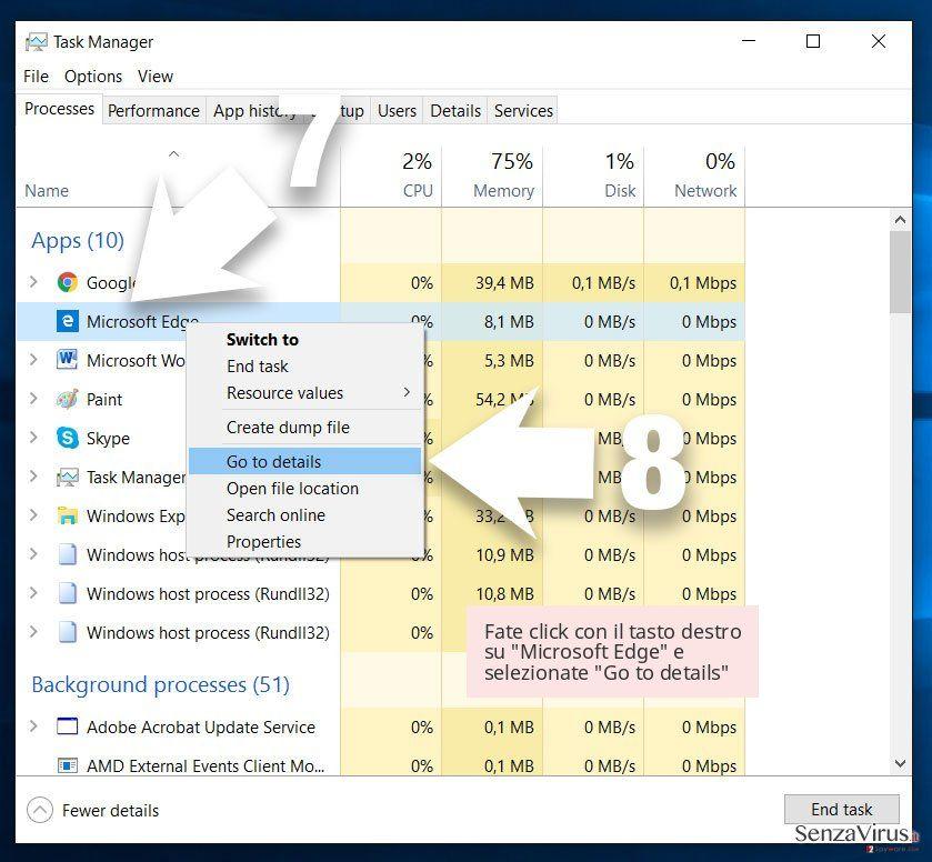 Fate click con il tasto destro su 'Microsoft Edge' e selezionate 'Go to details'