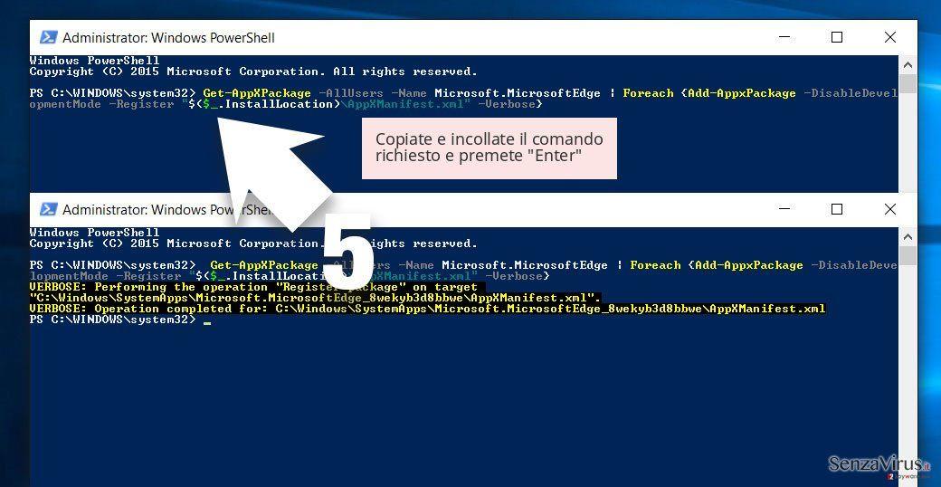 Copiate e incollate il comando richiesto e premete 'Enter'