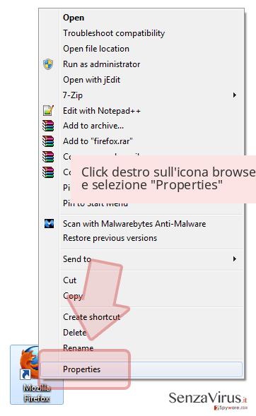 Click destro sull'icona browser e selezione 'Properties'