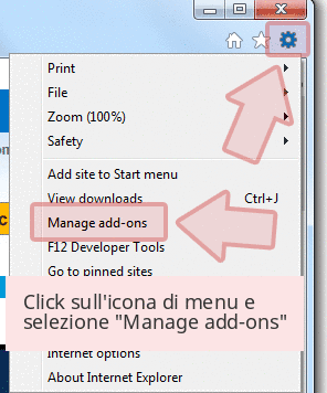 Click sull'icona di menu e selezione 'Manage add-ons'