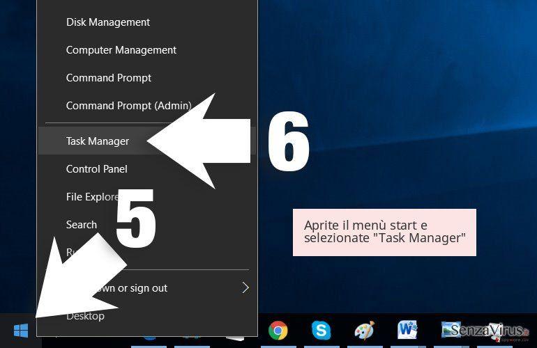 Aprite il menù start e selezionate 'Task Manager'