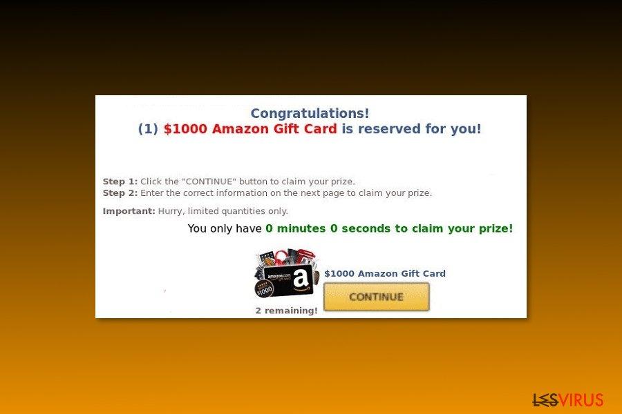 """Esempio di virus """"Ti abbiamo riservato una Gift Card Amazon dal valore di 1000€"""""""