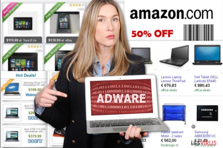 Un'immagine degli annunci commerciali di NewTab