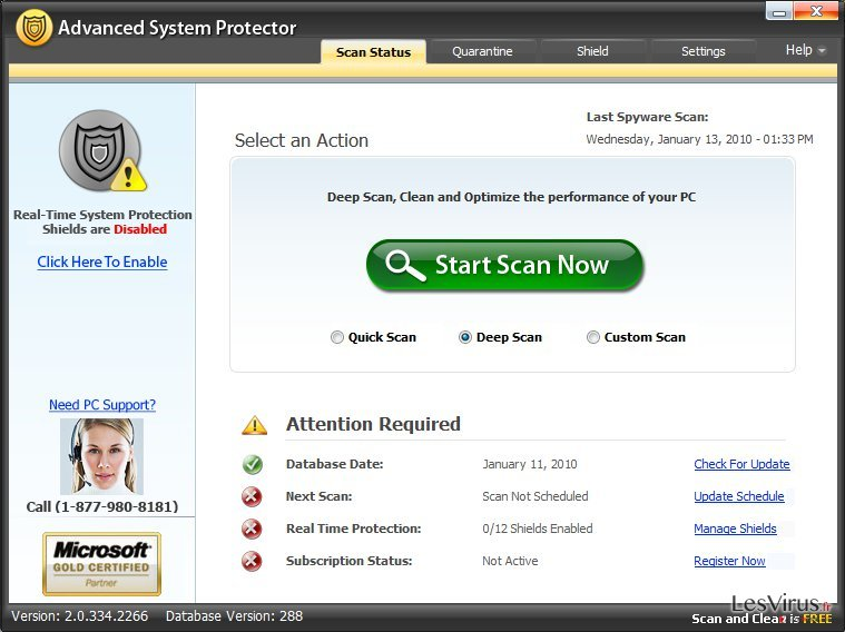instantanea di Advanced System Protector