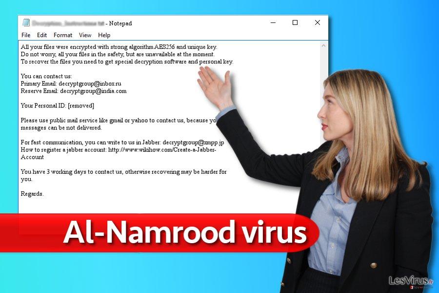 Nota del virus ransomware Al-Namrood.