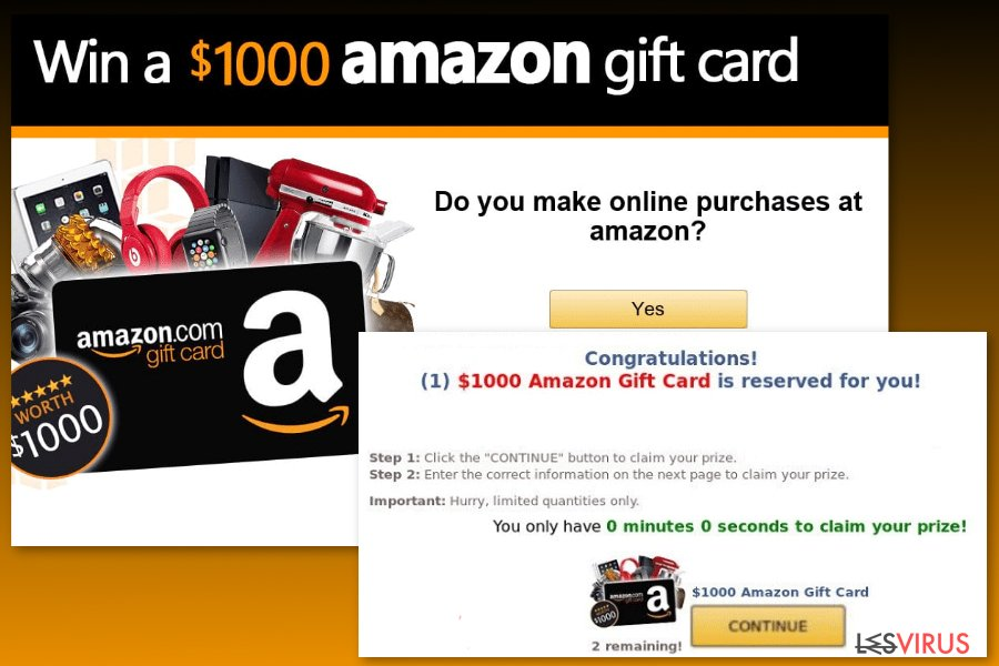 Esempio del virus Gift Card di Amazon
