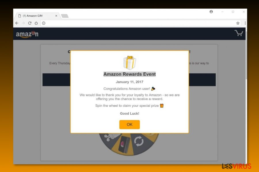 "Esempio di una truffa ""Evento amazon Reward"""