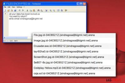 La nota del ransomware Arena FILES ENCRYPTED.txt