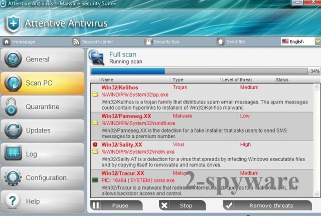 instantanea di Antivirus Attentive