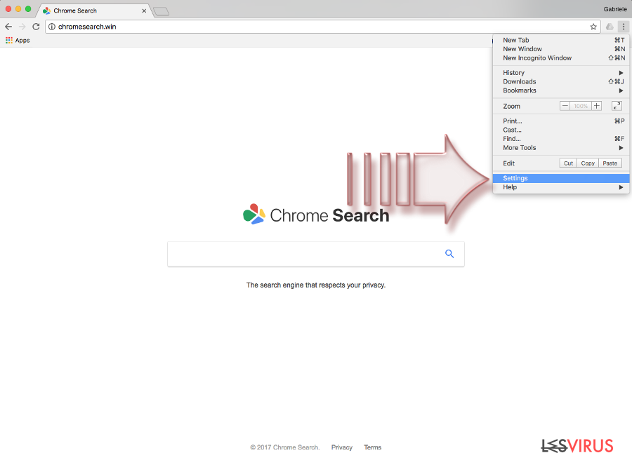 instantanea di Il virus Chromesearch.win