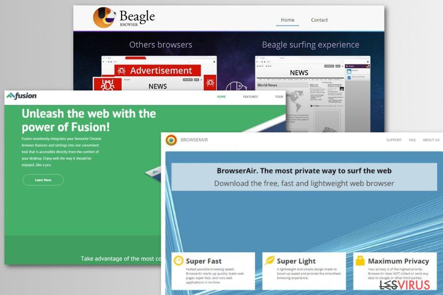 Alcuni esempi dei browser fake Chromium