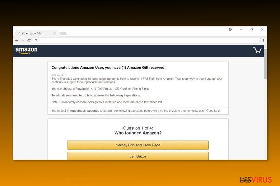 """Immagine del virus """"Congratulazioni Utente Amazon"""""""