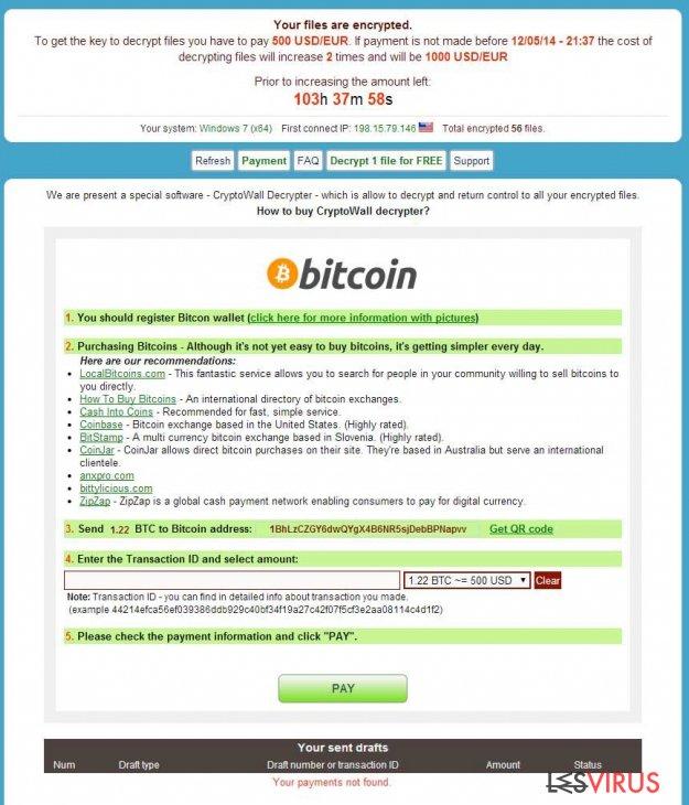 instantanea di il virus CryptoWall
