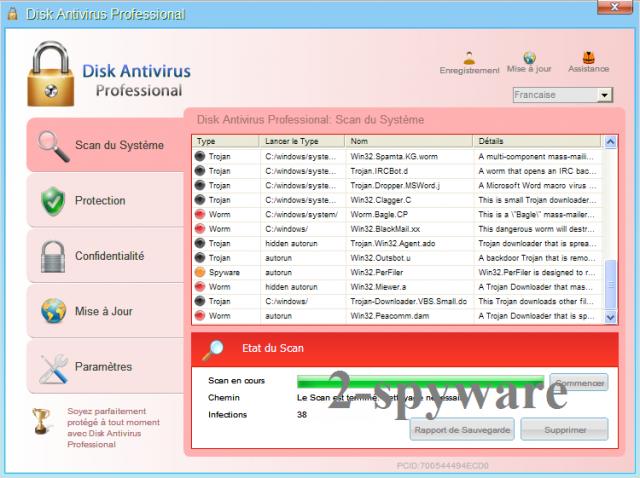 instantanea di Disk Antivirus Professional