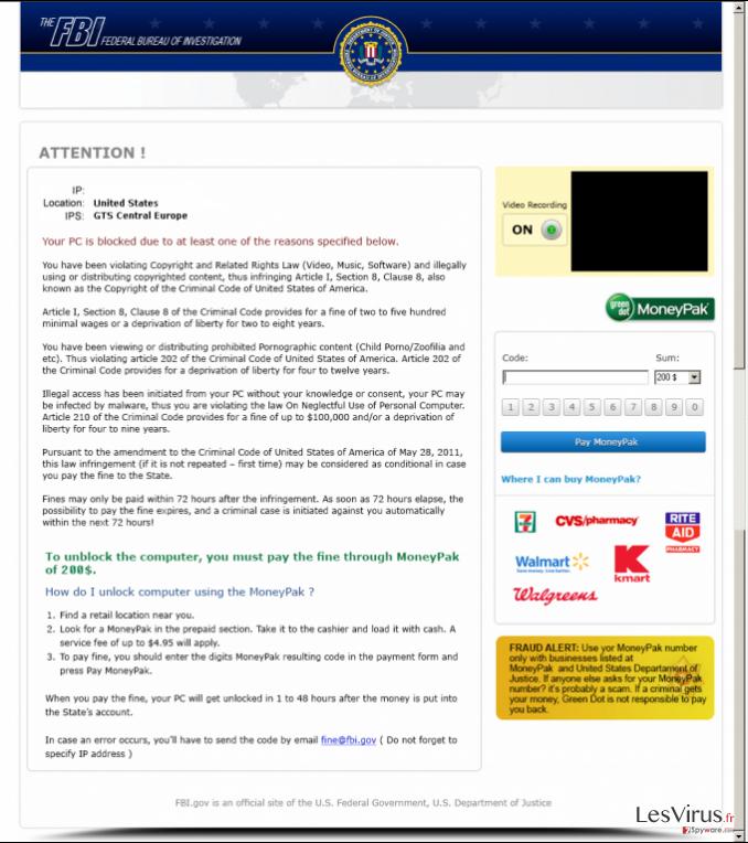 instantanea di FBI Moneypak