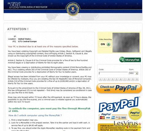 instantanea di FBI PayPal virus