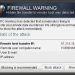 "instantanea di Le pubblicità pop-up ""Firewall Warning"""