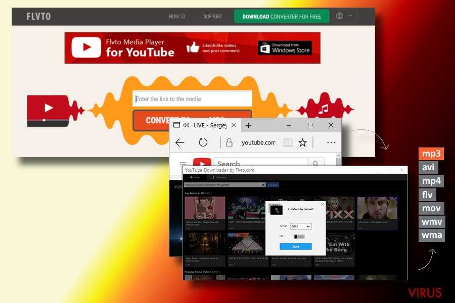 Il virus Flvto Youtube Downloader