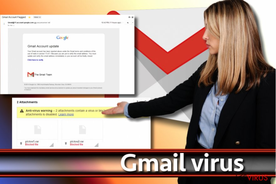 Uno screenshot del virus Gmail