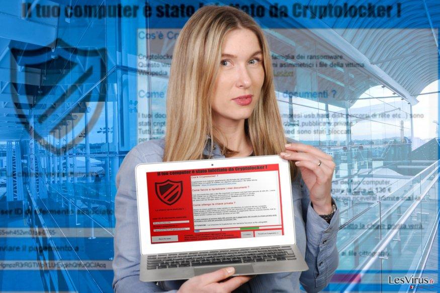 """Un'immagine del virus """"Il tuo computer e stato infettato da Cryptolocker!"""""""