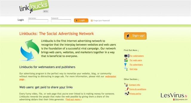instantanea di Il virus Linkbucks.com