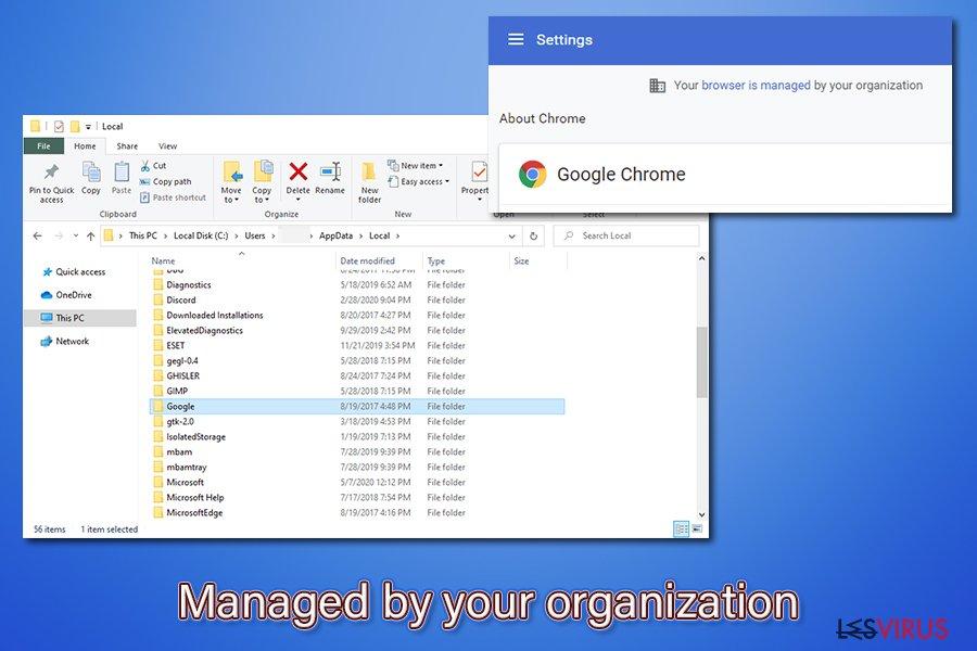 Eliminare Managed by your organization [Gestito dalla tua organizzazione]