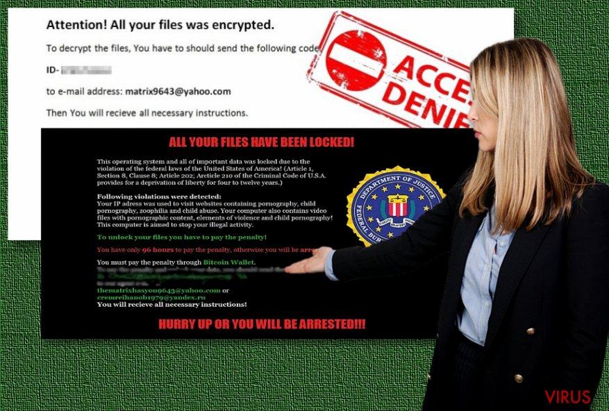 Gli esempi del ransomware Matrix