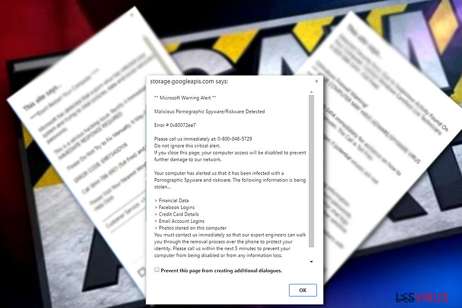 The sample of Microsoft warning Alert
