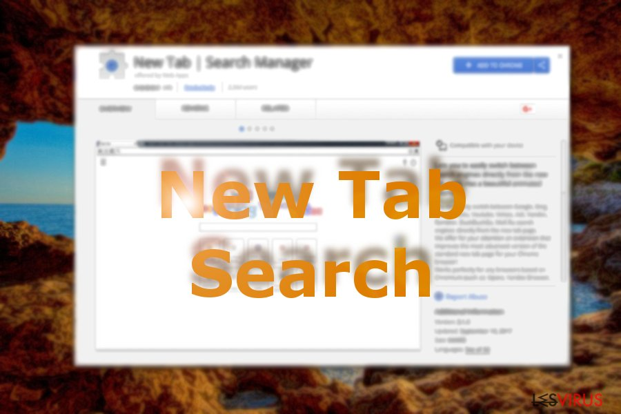 Un'immagine che mostra New Tab Search sul web store di Chrome
