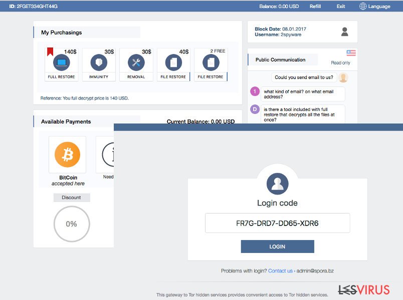 Il supporto per gli utenti e altre funzioni del ransomware Spora
