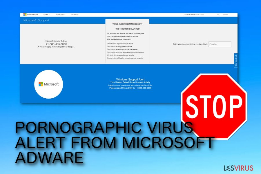 "La truffa pop-up di ""PORNOGRAPHIC VIRUS ALERT DA MICROSOFT"""