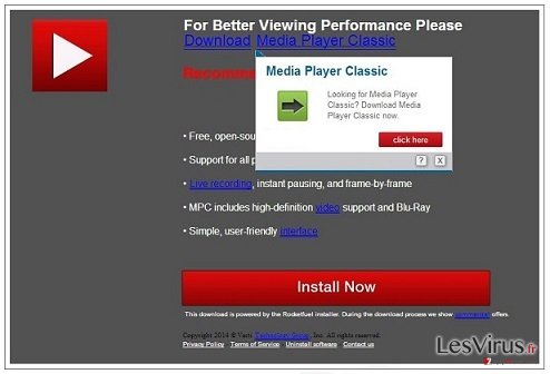 instantanea di Virus di pop-up PremiumPlayerUpdates.com