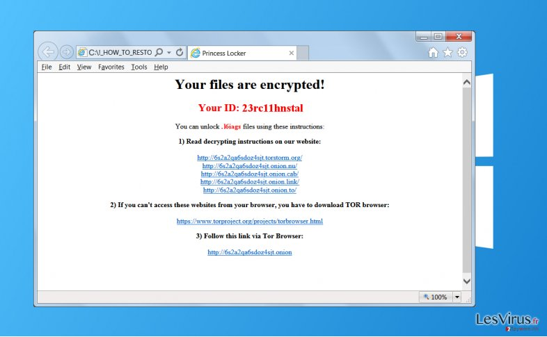 instantanea di Il virus ransomware Princess Locker
