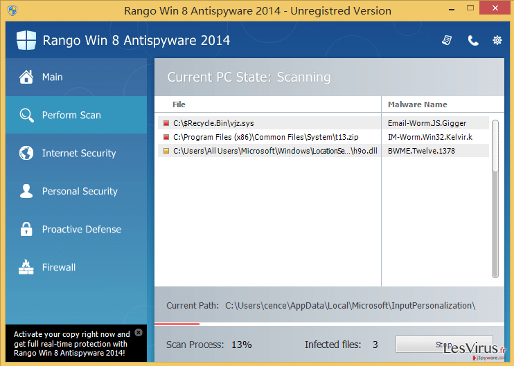instantanea di Rango Win 8 Antispyware 2014