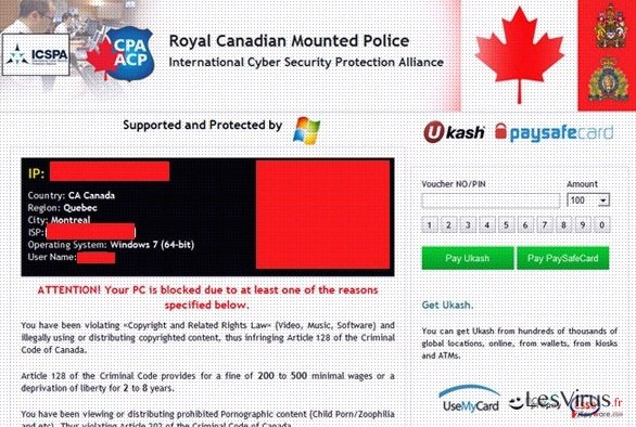 instantanea di Royal Canadian Mounted Police Ukash virus