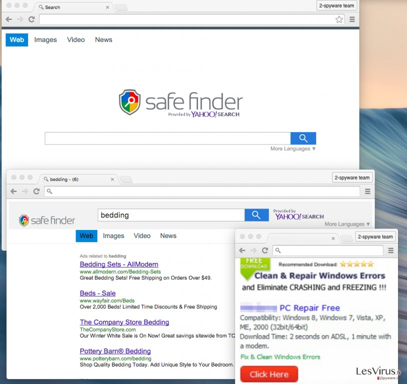 instantanea di Il virus Safe Finder