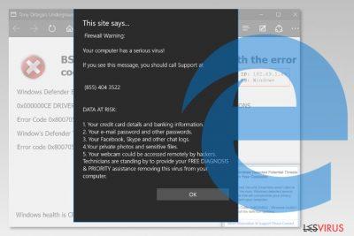 Uno screenshot del virus Microsoft Edge