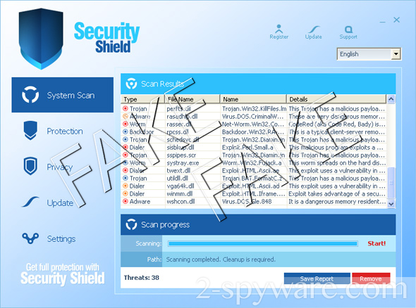 instantanea di Security Shield