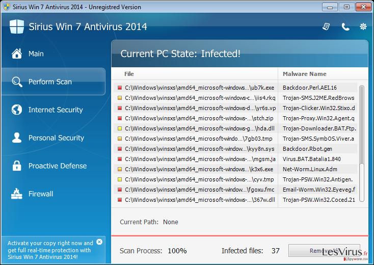 instantanea di Sirius Win 7 Antivirus 2014