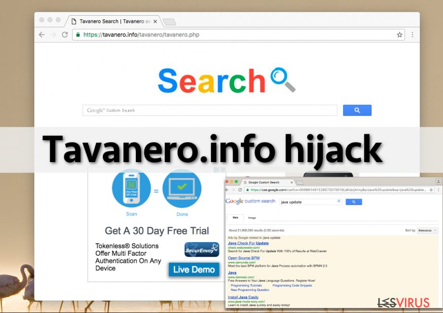 the picture showing Tavanero.info virus