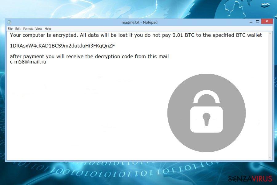 Il ransomware Thanatos - la nota di riscatto