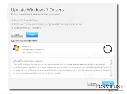 "instantanea di Le pubblicità pop-up di ""Update Windows 7 Drivers"""