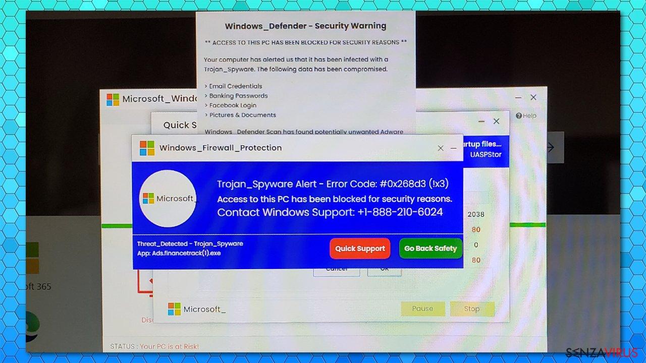 Avviso Trojan_Spyware - Codice errore #0x268d3 (!x3) avviso falso