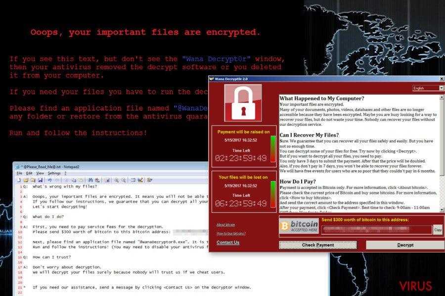instantanea di Il virus ransomware Wana Decrypt0r