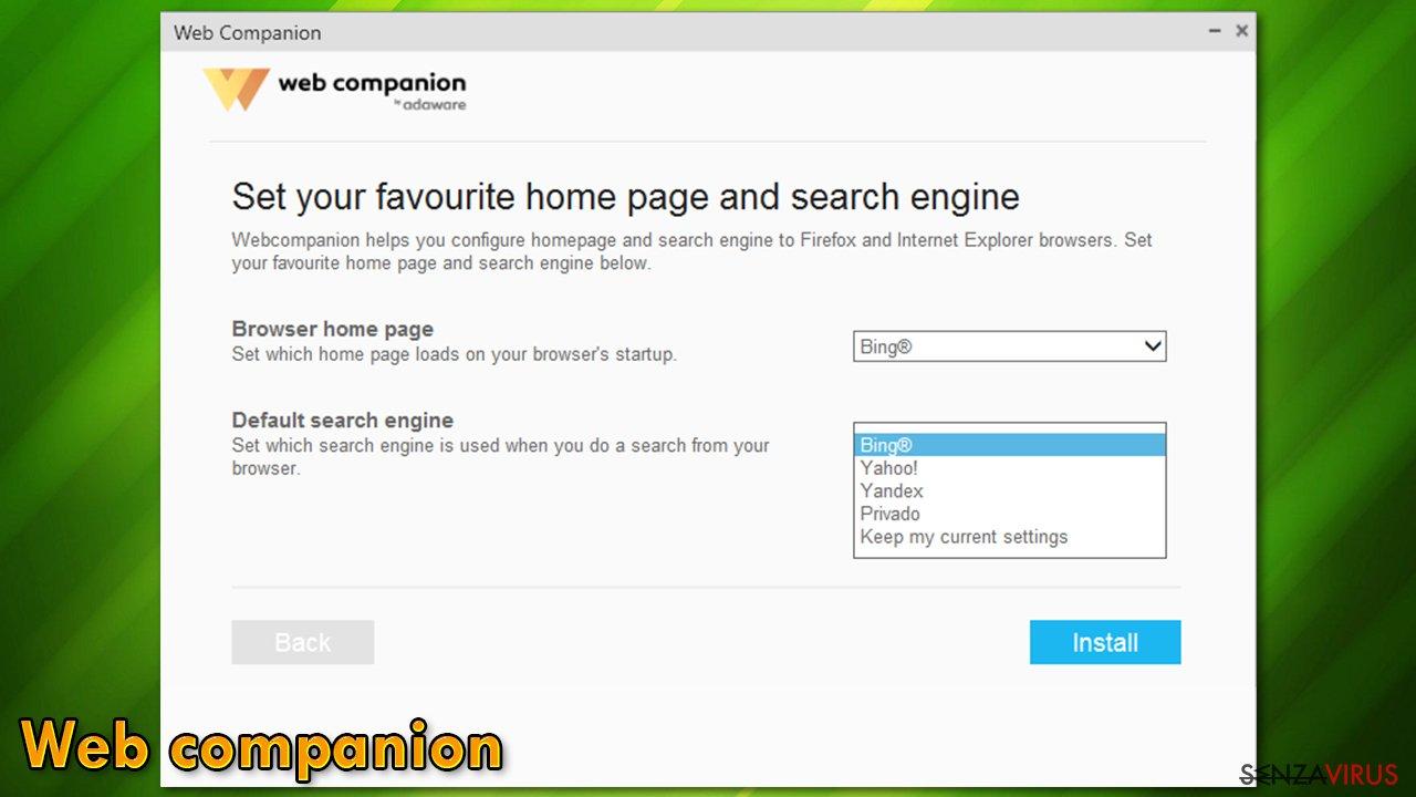 Dirottamento di Web Companion