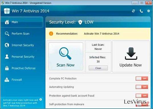 instantanea di Win 7 Antivirus 2014